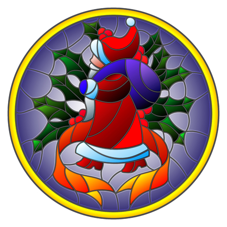 Illustration in stained glass style Santa Claus, with ribbon and Holly on a blue background round image