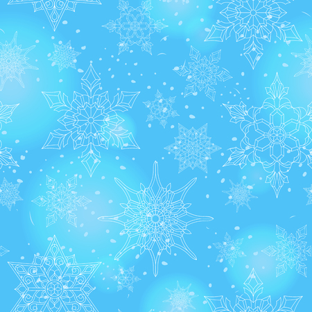 Seamless pattern on the theme of winter and winter holidays, the contour of the snowflake and flare, white snowflakes on a blue background