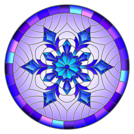 Illustration in stained glass style with snowflake in blue colors in a frame ,round image Illustration