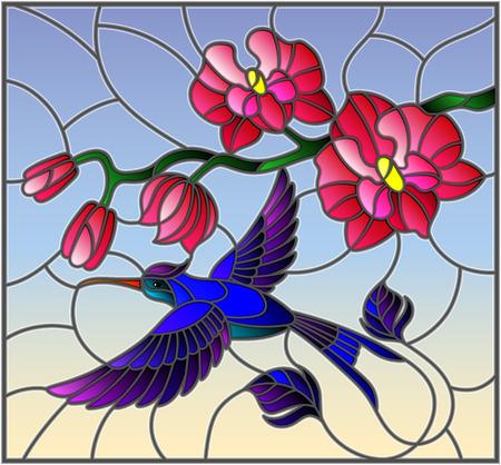 Illustrazione in stile di vetro macchiato con un ramo di orchidea rosa e colibrì uccello luminoso su uno sfondo di cielo