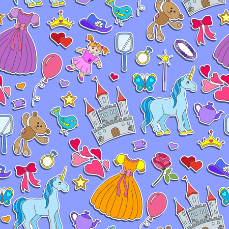 Seamless pattern on the theme of Hobbies baby girls and toys ,stickers icons on a purple  background Иллюстрация