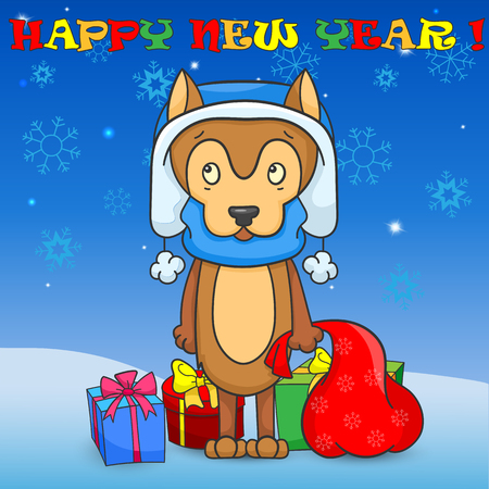 Illustration for new year and Christmas, the cartoon dog is a symbol of the new year on the Eastern calendar on the background of snow, sky with snowflakes , gift boxes and labels Illustration