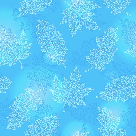 Seamless pattern with contour lacy light  leaves of different trees on a blue background