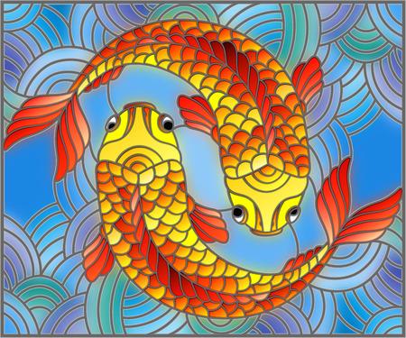 Illustratie in gebrandschilderd glasstijl met een paar gouden vissen op waterachtergrond