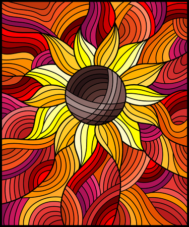 Illustration of bright orange abstract flower on wavy background in stained glass style. Illustration