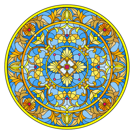 Illustration in stained glass style of round mirror image with floral ornaments and swirls