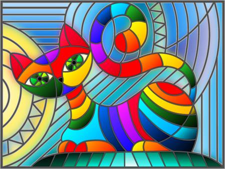Illustration in der Buntglasart mit abstrakter geometrischer Katze