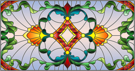 Illustration in stained glass style with abstract  swirls,flowers and leaves  ,horizontal orientation