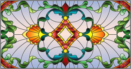 Illustratie in gebrandschilderd glasstijl met abstracte wervelingen, bloemen en bladeren, horizontale richtlijn