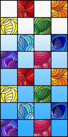 Illustratie in gebrandschilderd glasstijl met kleurrijke vierkanten die in regenboogspectrum worden gekleurd op de achtergrond van blauwe hemel