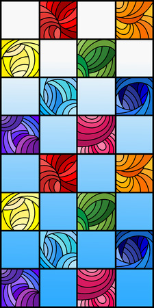 Illustration in stained glass style with colorful squares colored in rainbow spectrum on the background of blue sky Illustration