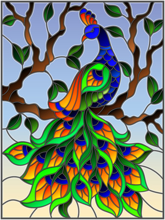 Illustration in stained glass style bird peacock and tree branches on background of blue sky