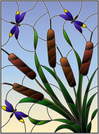 Illustration in stained glass style with bouquet of   bulrush and dragonflies on a sky background