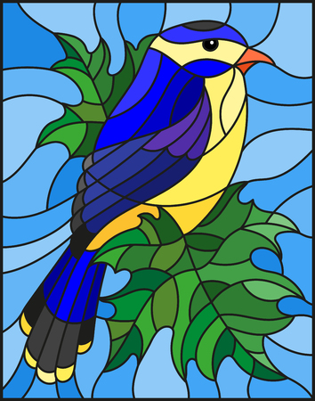 Illustration in the style of stained glass with a beautiful blue bird  on a  background of branch of maple tree and sky