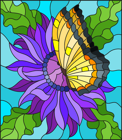 Illustration in stained glass style with a purple Aster flower and bright yellow butterfly on a blue background Illustration