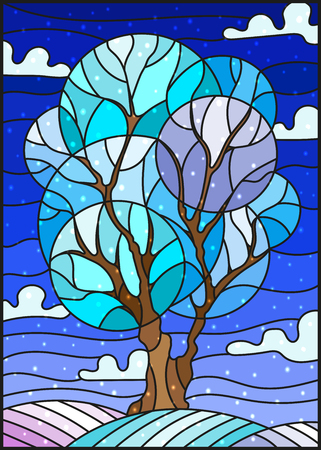 Illustration in stained glass style with winter tree on sky background with the snow Ilustracja
