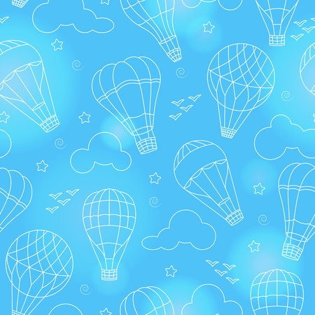 Seamless background with balloons , clouds, birds and stars on a blue background with flares