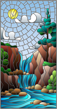 Illustration in stained glass style landscape ,the tree on the background of a waterfall, mountains, sun and sky
