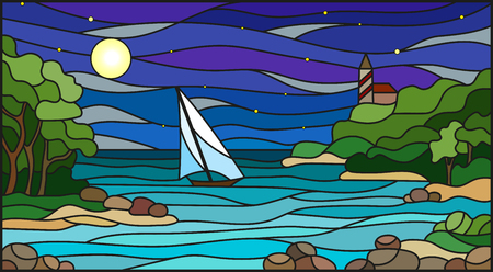 Stained glass illustration with sea views, sailing in rocky Bay on the background of sea , moon and starry sky