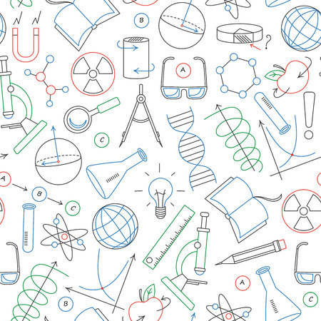 Seamless pattern on the theme of science and inventions, diagrams, charts, and equipment, simple contour icons drawn with colored markers on white background