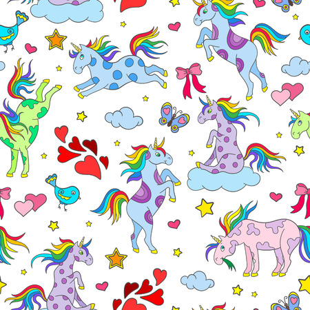 Seamless pattern with funny cartoon unicorns, hearts and stars color icons on white background Illustration