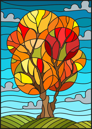 Illustration in stained glass style with autumn tree on sky background with clouds Illustration