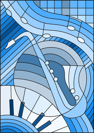 Illustration in stained glass style on the subject of music , the shape of an abstract saxophone on geometric background,blue tone Illustration