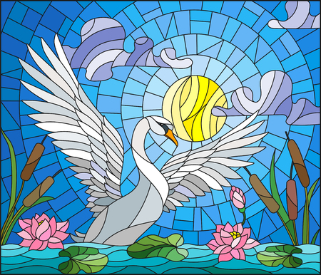 Illustration in stained glass style with Swan , Lotus flowers and reeds on a pond in the sun, sky and clouds Zdjęcie Seryjne - 91377129
