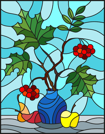 Illustration in stained glass style with autumn still life, branches of mountain ash and maple in blue  vase and fruit on a blue background Illustration