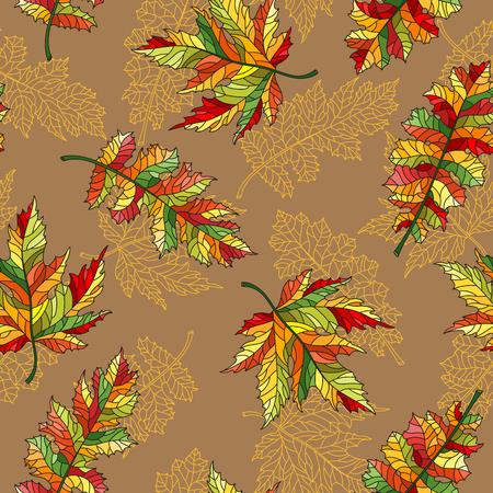 Naadloos patroon met bladeren van de contour de kanten herfst van verschillende bomen op een beige achtergrond