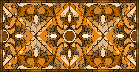 Illustration in stained glass style with abstract  swirls and leaves  on a light background,horizontal orientation, sepia