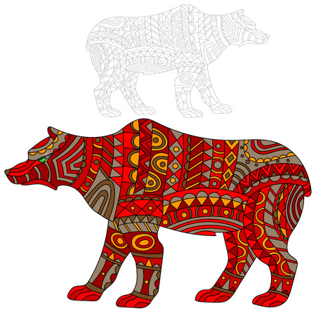 Illustration of abstract red bear, animal and painted its outline on white background , isolate