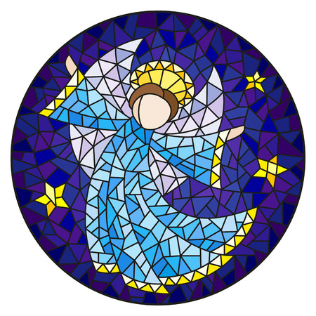 Illustration in stained glass style with an abstract angel in blue robe  , round picture Illustration