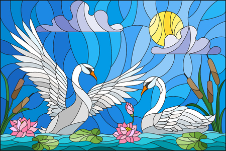 Swans in the pond stained glass icon.