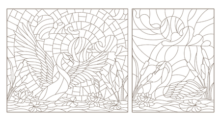 Swans and flowers stained glass icon. 일러스트