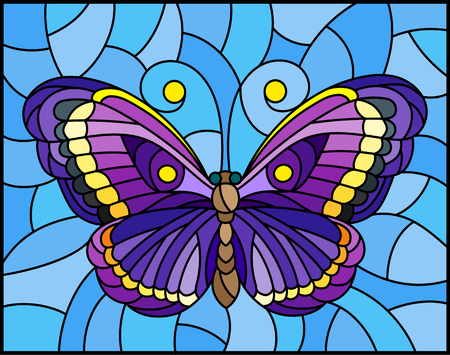 Colorful moth stained glass icon.