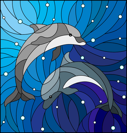 Two stained glass dolphin icon.