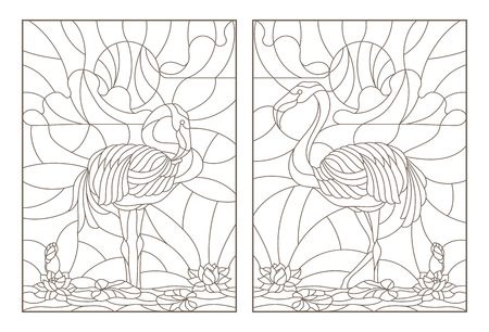 Set contour illustrations of stained glass with flamingos and lotuses on a pond on a background sky and sun