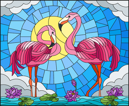 Illustration in stained glass style with pair of Flamingo.