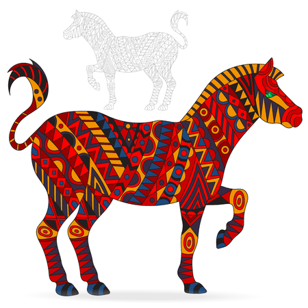 Illustration of abstract red Zebra, animal and painted its outline on white background, isolated Illustration