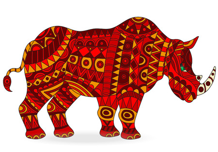 Illustration of abstract red rhino, animal on white background, isolated Illustration