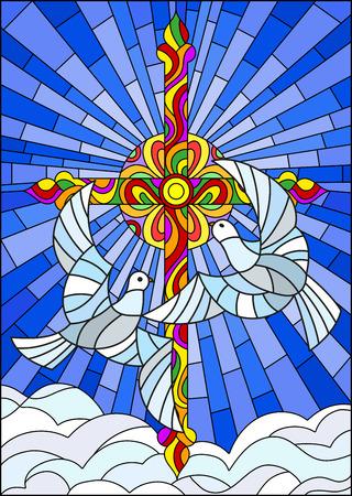 Illustration avec une croix et une paire de colombes blanches dans le style vitrail Banque d'images - 91818614