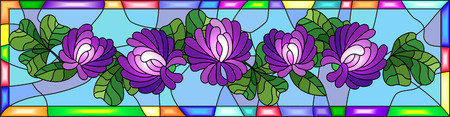 Illustration in stained glass style with flowers, buds and leaves of clover in a bright frame ,horizontal orientation