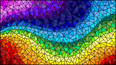 Abstract stained glass background , the colored elements arranged in rainbow spectrum
