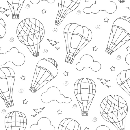 Seamless background with balloons , clouds, birds and stars ,dark contours on white background