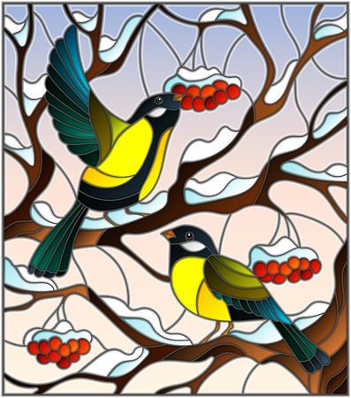 Illustration in stained glass style with a pair of great Tits birds on the branches of a Rowan tree on the background of snow, berries and sky
