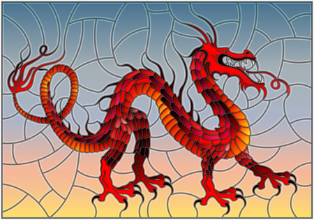 Illustration in stained glass style with red abstract dragon in the sky background