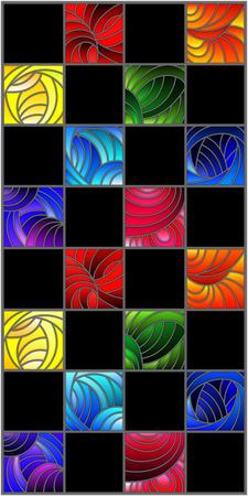Illustratie in gebrandschilderd glasstijl met kleurrijke vierkanten die in regenboogspectrum worden gekleurd op de zwarte achtergrond