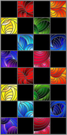 Illustration in stained glass style with colorful squares colored in rainbow spectrum on the  black background