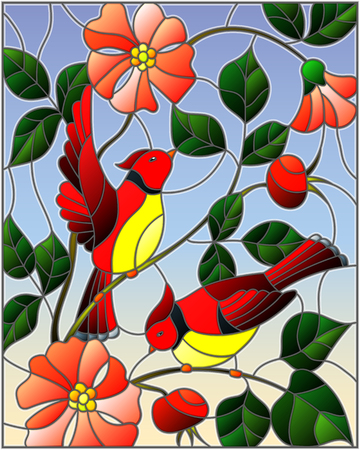 Illustration in stained glass style with two red birds on the branches of blooming wild rose on a background sky Ilustracja